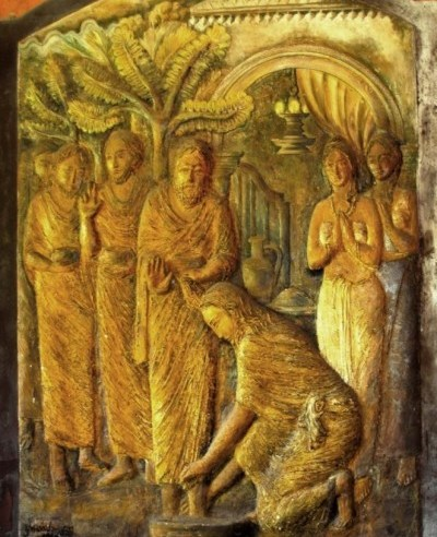 bas-relief sculpture of Jesus washing the feet of his disciples at Tulana in Kelaniya