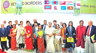With Sheikh Hasina, Prime minister of Bangladesh, and writers from the SAARC region
