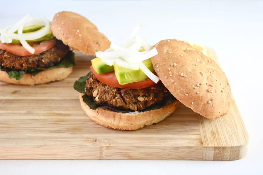 Chickpea Burgers Drizzled with Lemon and Tahini Sauce