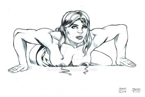girl on beach by Pramit