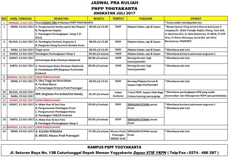 Jadwal Pra Kuliah PSPP Penerbangan Juni 2017