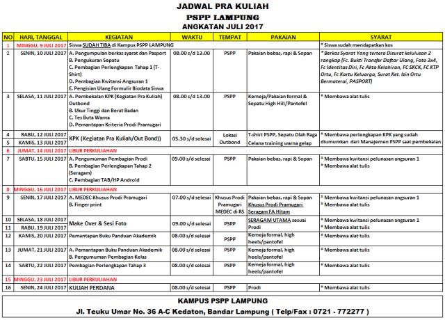 Jadwal Pra Kuliah PSPP Penerbangan Juni 2017, Jadwal Pra Kuliah PSPP Penerbangan Juni 2017