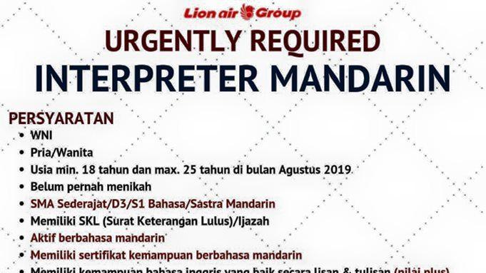 lowongan interpreter mandarin Lion Air, Lowongan Interpreter Mandarin Lion Air Group