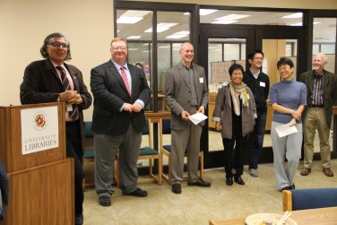 Babak Hamidzadeh (Interim Dean of UMD Libraries), Dan Mack (Associate Dean for Collection Strategies and Services, UMD Libraries), Douglas McElrath (Acting Head of Special Collections and University Archives, UMD Libraries), Seung-kyung Kim (Director of Women's Studies and Director of the Center for East Asian Studies), Takahiko Narihara (D.C. Representative of the National Diet Library of Japan), Yukako Tatsumi (Prange Curator and East Asian Studies Librarian, UMD Libraries), and Bernard D. Cooperman (Director of the Miller Center for Historical Studies)