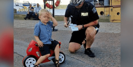 Cop Gives a 3-Year-Old Parking Ticket for Illegally Parking his Bike
