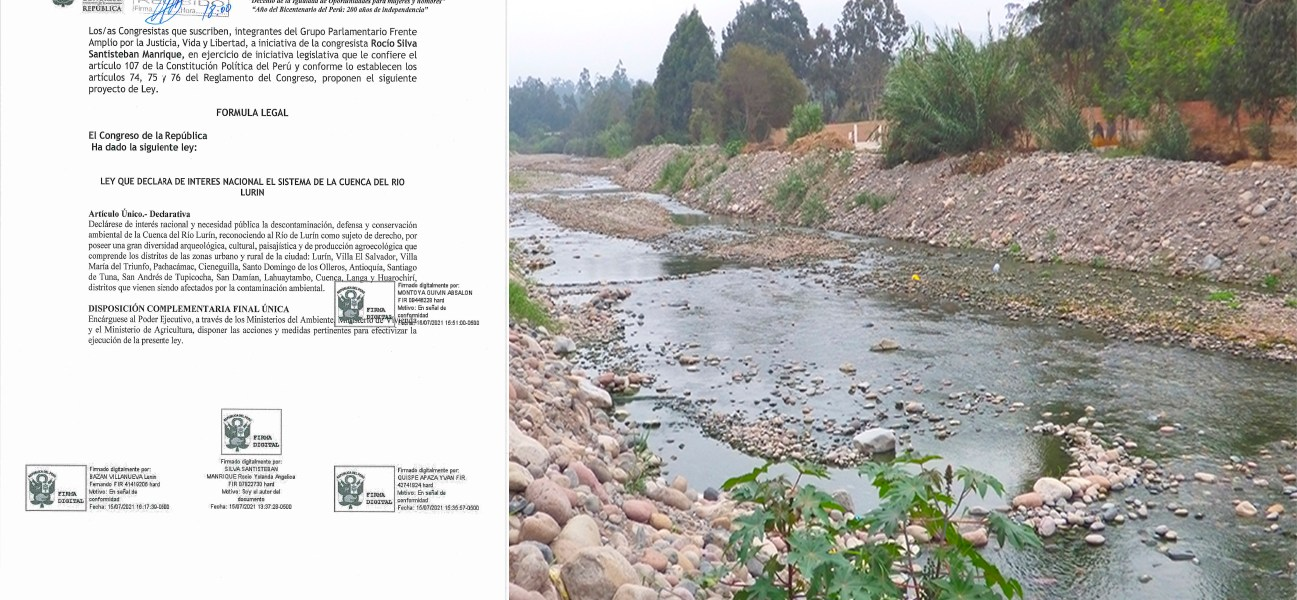 Congresista presentó proyecto de ley para la protección ambiental de la Cuenca del Río Lurín