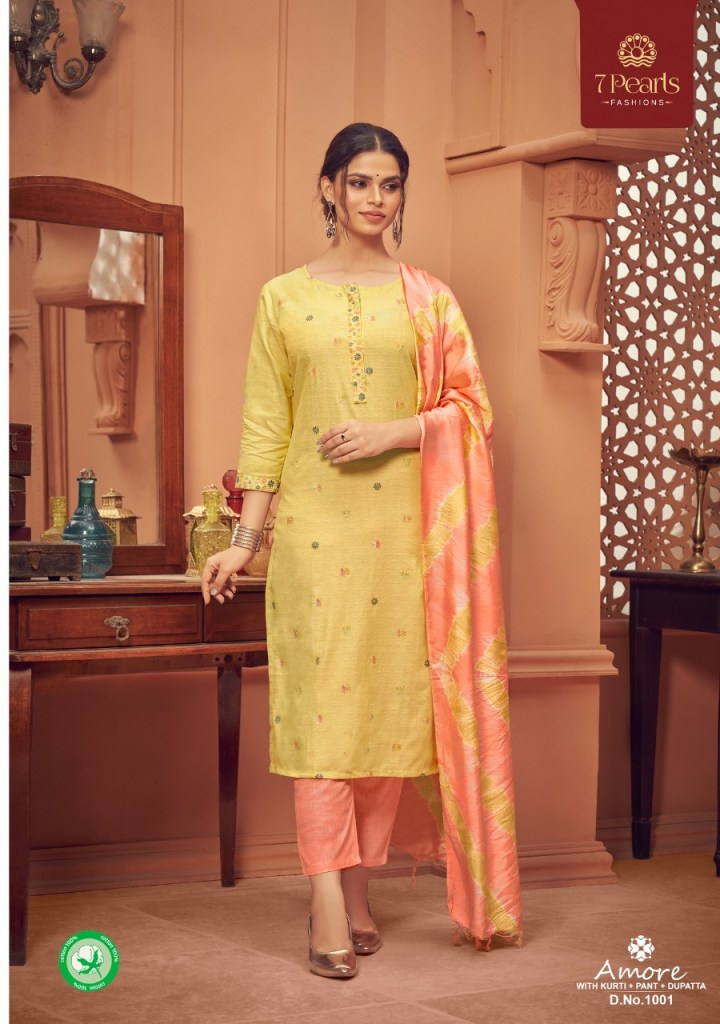 pearls amore cotton fancy kurtis with pant dupatta collection pratham exports