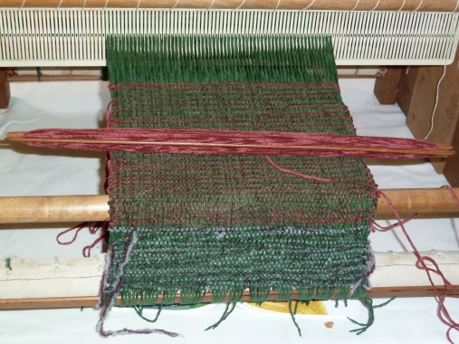 Carole's loom and green tweedy weave