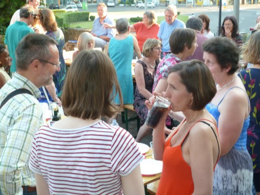 Steph (in red) at the post concert party in Parma