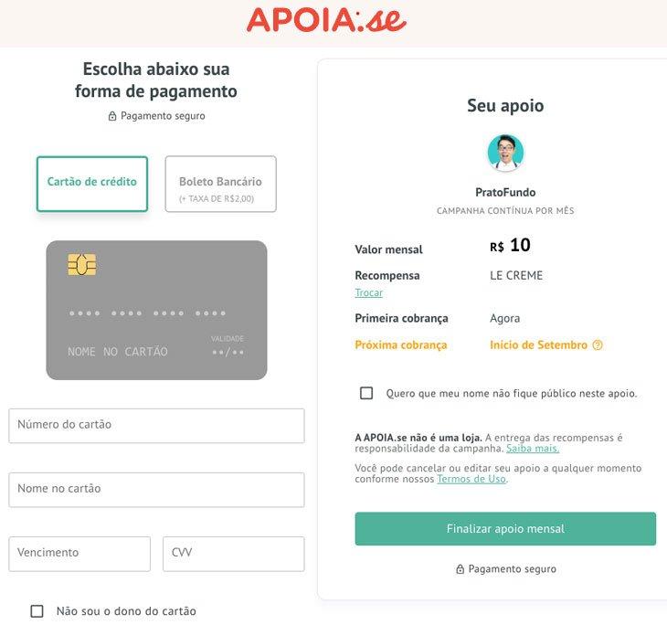 Tela do Apoia.se para preencher os dados de pagamento