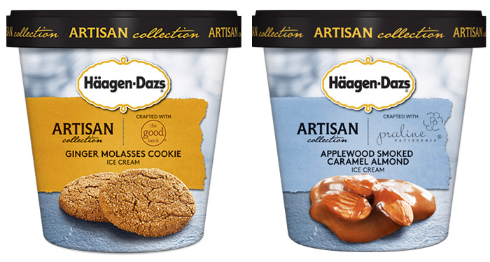 Häagen-Dazs: ginger molasses cookie e applewood smoked caramel almond