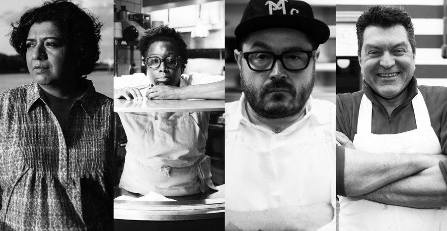 Foto em preto e branco de 4 chefs: Asma Khan, Mashama Bailey, Sean Brock e Dario Cecchini