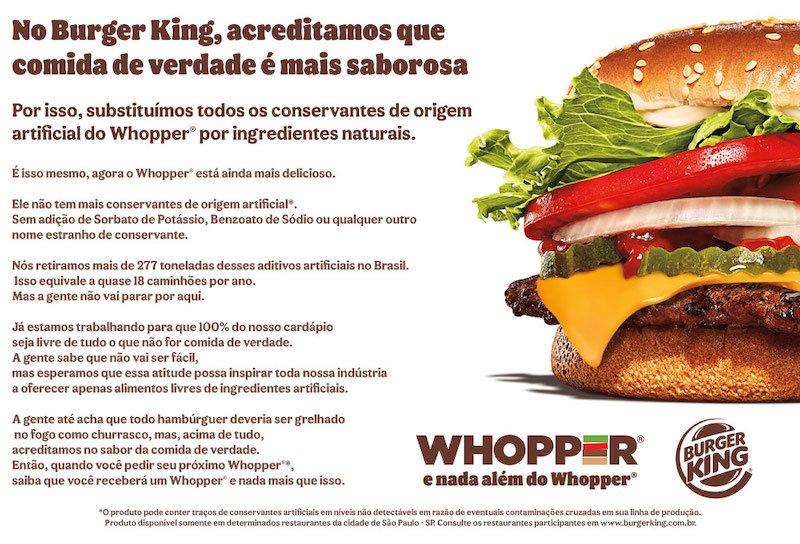 Arte da campanha do Burger King do Whopper sem conservantes.