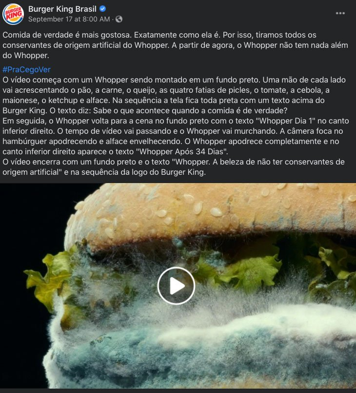 Whopper mofado do Burger King no video brasileiro.