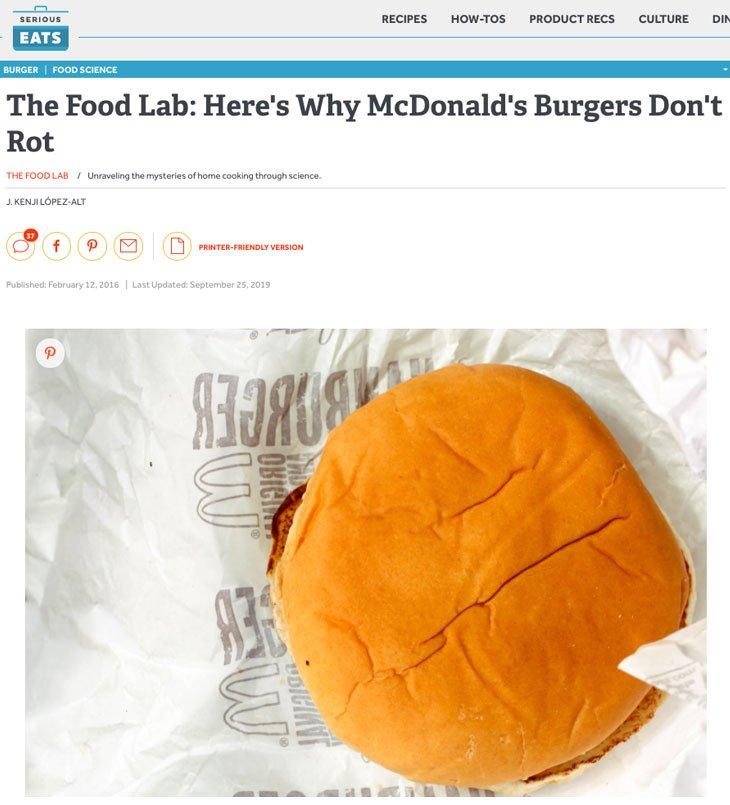 Imagem do artigo The Food Lab: Here's Why McDonald's Burgers Don't Rot.