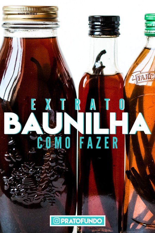 Banner com garrafas de vidro com extrato de baunilha e texto indicativo