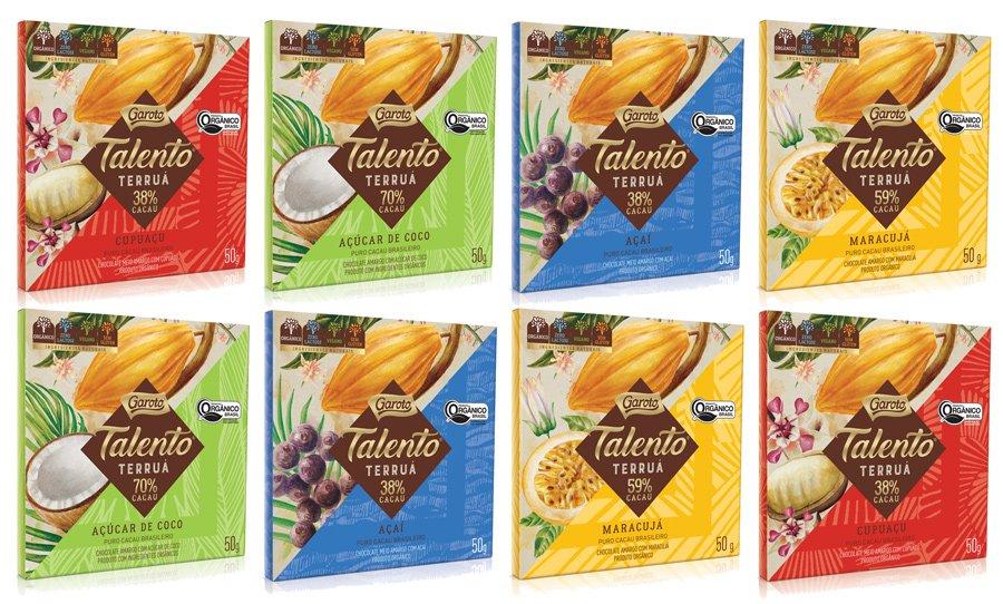 Amostra da nova linha de chocolate Talento Terruá da Garoto com chocolate vegano