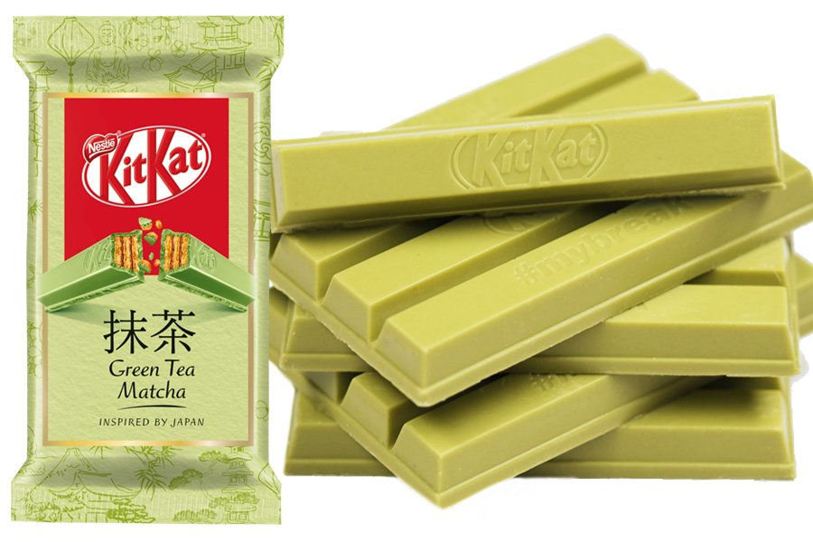 Embalagem e foto do Kit Kat de Matcha do mercado europeu, kit kat de chocolate branco verde