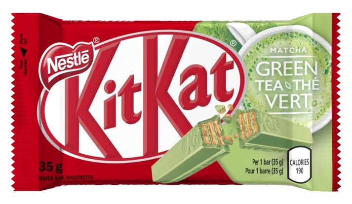 Embalagem do Kit Kat Matcha no site Canadense