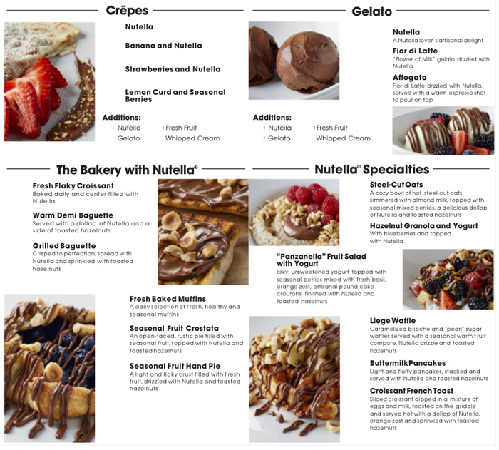 Nutella Café em Chicago: Cardápio