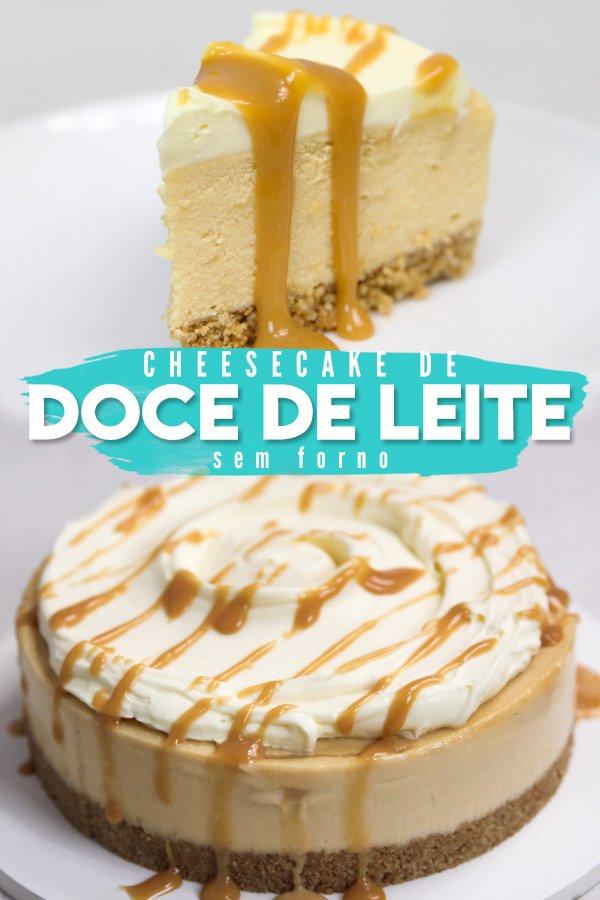 Cheesecake de Doce de Leite inteira vista de lado com doce de leite escorrendo