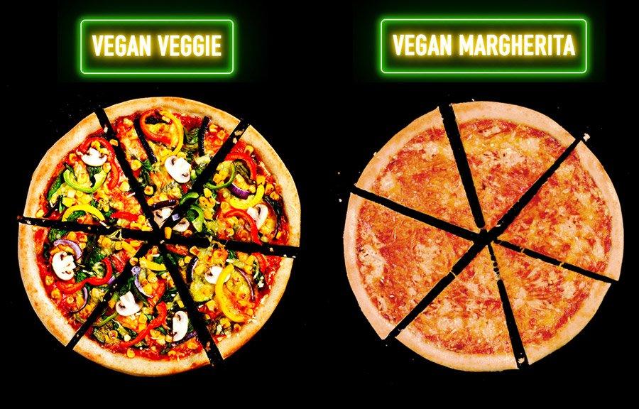 Duas pizzas lado a lado dos sabores vegetais e margerita
