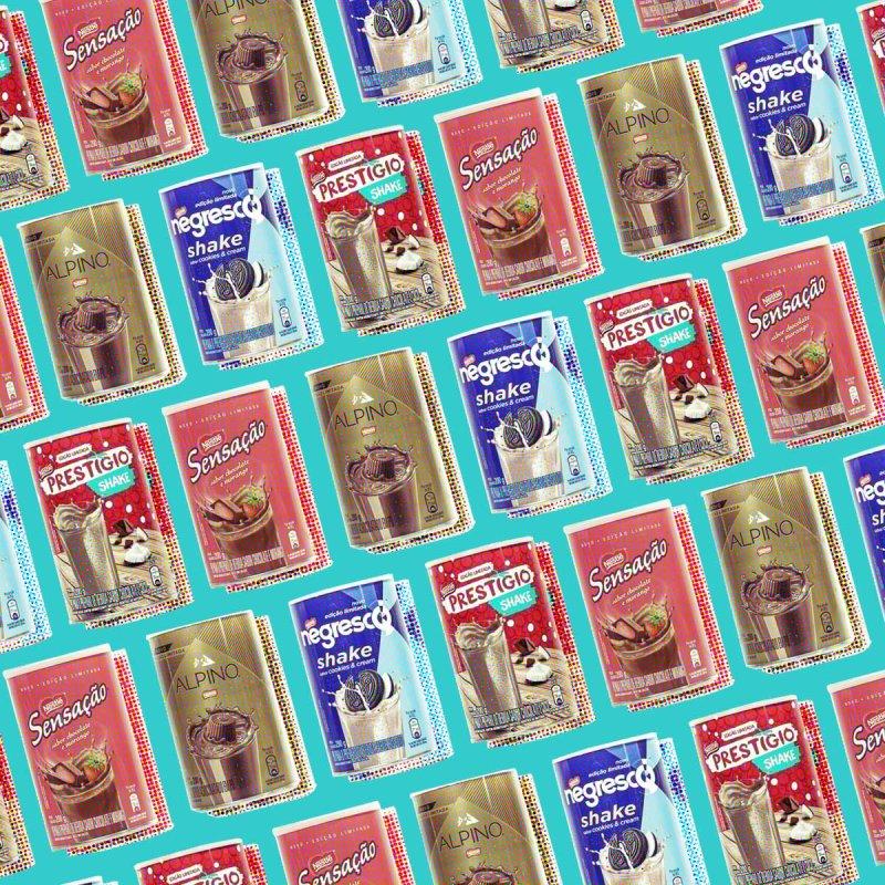 Colagem com as embalagens dos Achocolatados Nestlé: Alpino, Negresco, Prestígio e Sensação