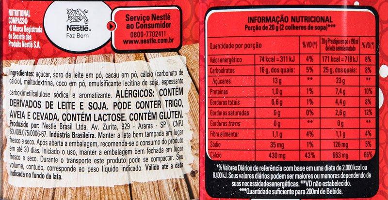 Imagem da listagem de ingredientes e tabela nutricional do Nestlé Prestígio Shake