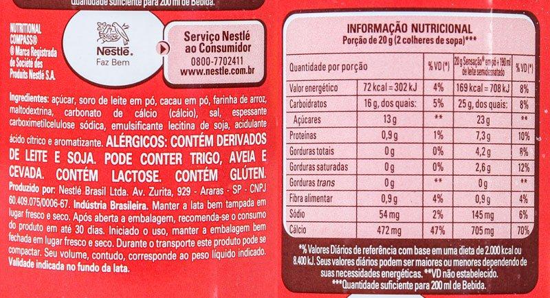 Imagem da listagem de ingredientes e tabela nutricional do Nestlé Sensação em pó