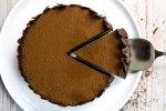 Cheesecake de Nutella fatiada vista de cima
