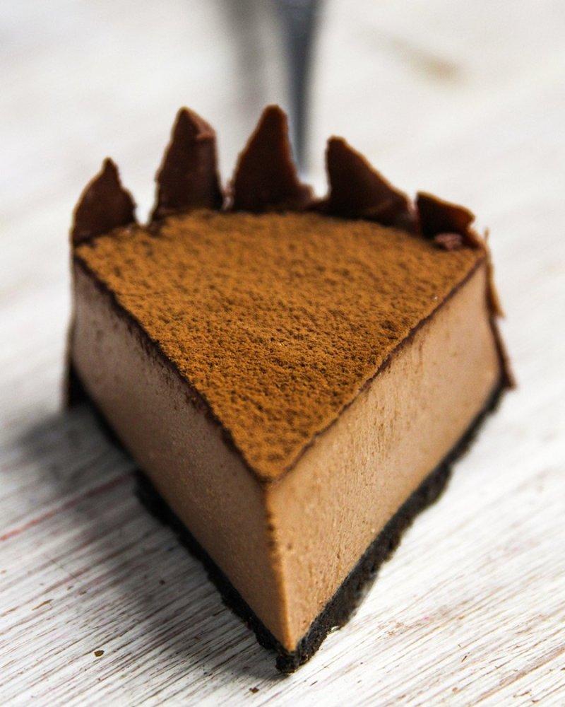 Pedaço da Cheesecake de Nutella em close
