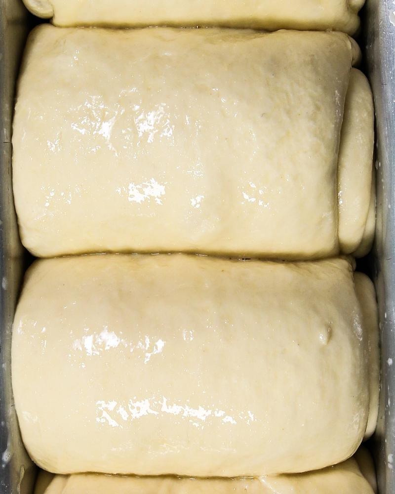 Massa crua de pão fermentada sendo vista de cima