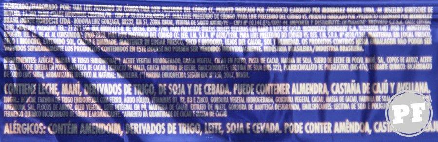 Lista de ingredientes do Embalagem do Bis Mais Sabor Chocolate