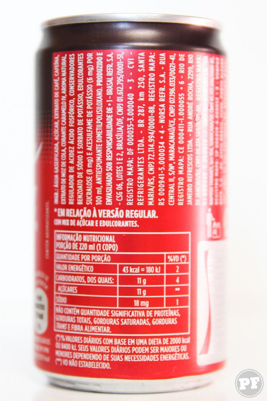 Lista de ingredientes e tabela nutricional da Lata de coca-cola plus café