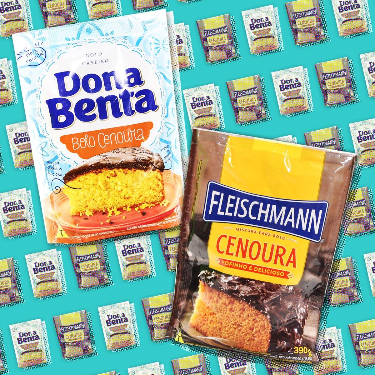 Colagem com as embalagem das misturas de bolo de cenoura da dona benta e fleischmann.