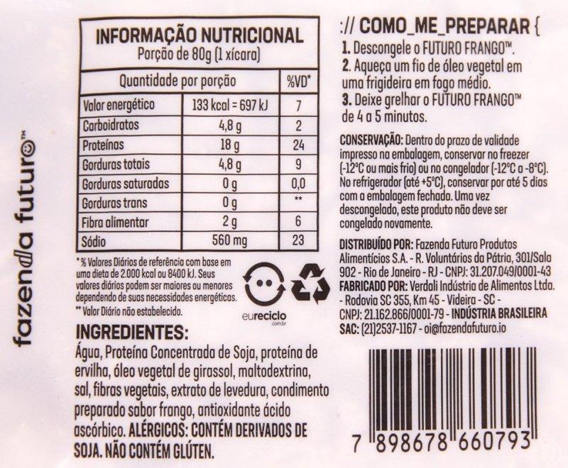 Lista de ingredientes e tabela nutricional do Futuro Frango da Fazenda Futuro.