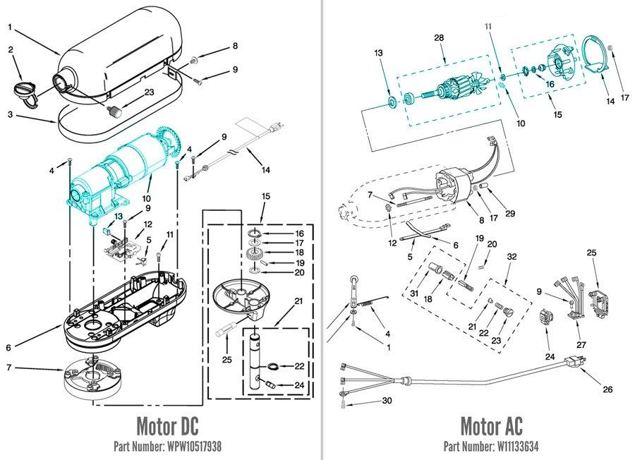 Comparativo de projetos esquemáticos de diferentes motores usados nas batedeiras KitchenAid