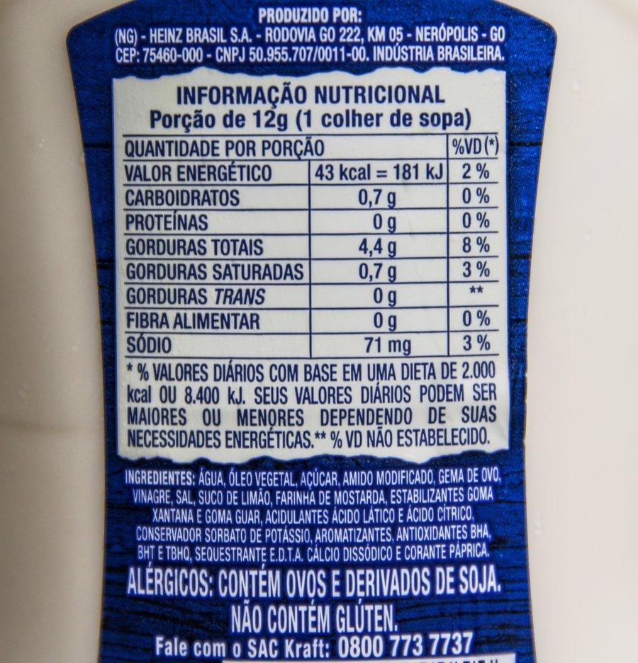 Mayo Kraft: tabela nutricional e lista de ingredientes