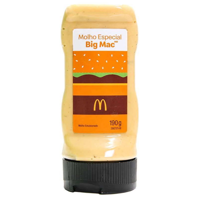Embalagem tipo bisnaga do Molho Especial Big Mac.