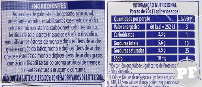 Listagem de ingredientes e tabela nutricional do Chantilly Amélia