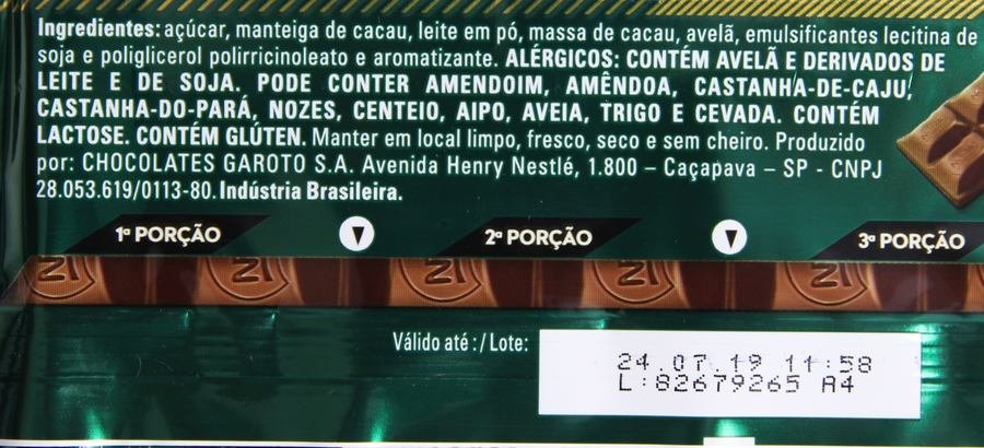 Ingredientes do Alpino Nestlé Gianduia