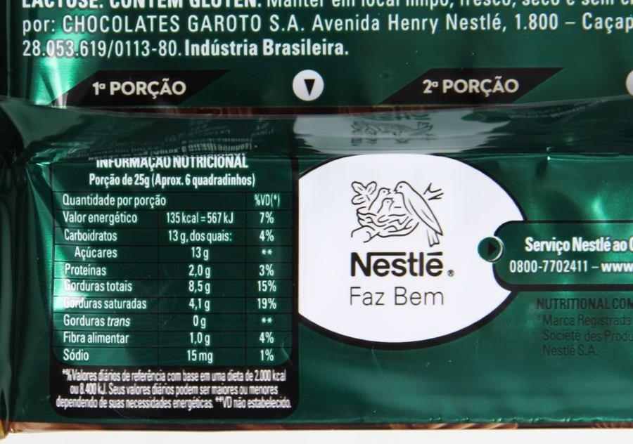 Tabela nutricional do Alpino Nestlé Gianduia