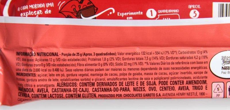 Nestlé Mio Goiaba: lista de ingredientes e valores nutricionais