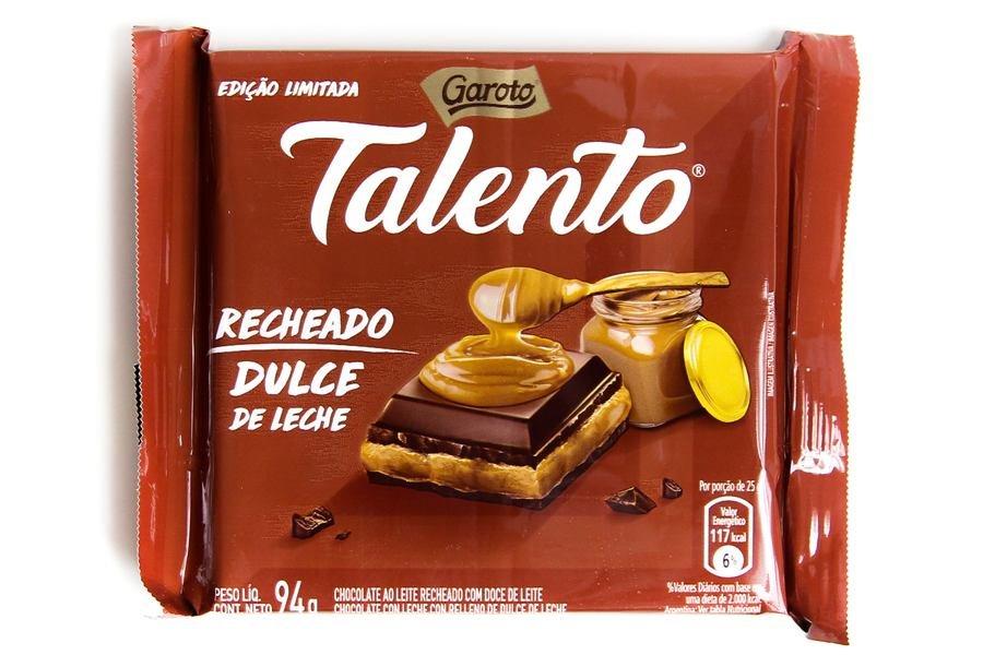 Embalagem do Talento Garoto Recheado Dulce de Leche