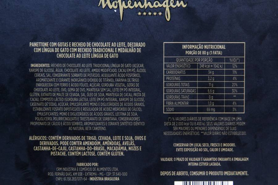 Listagem de ingredientes e valores nutricionais do Panettone Língua de Gato Exagero da Kopenhagen