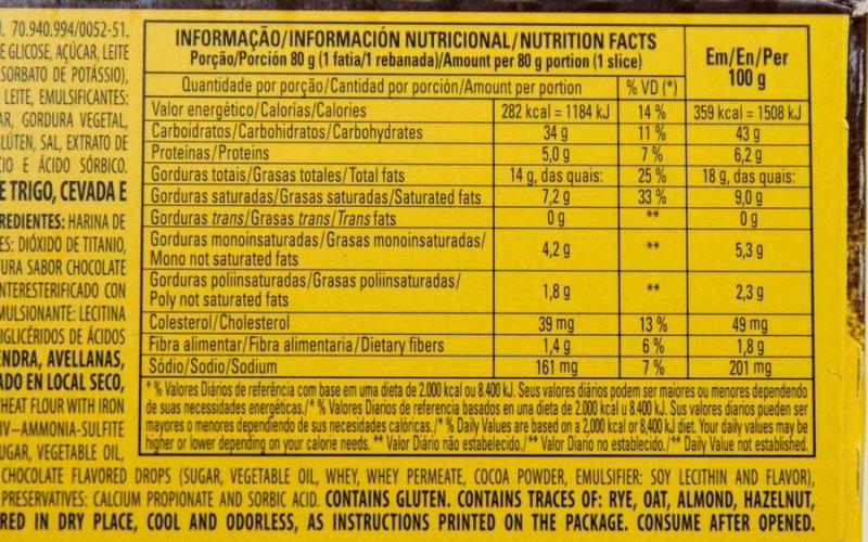 Resenha: Panetone Chocottone Snickers Bauducco: Tabela Nutricional