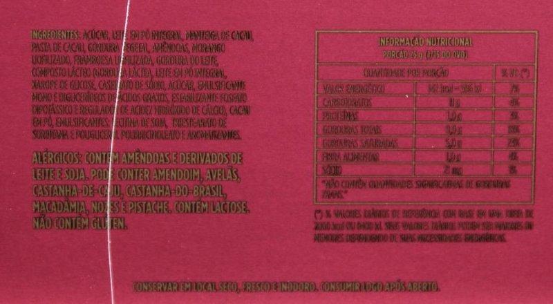 Ingredientes e tabela nutricional do Embalagem do ovo exagero frutas vermelhas