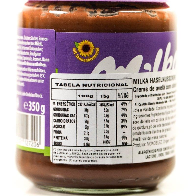Pote da pasta de chocolate e avelã da milka em destaque a tabela nutricional.