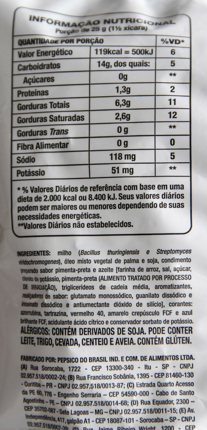 Tabela nutricional e lista de ingredientes do Doritos Rainbow