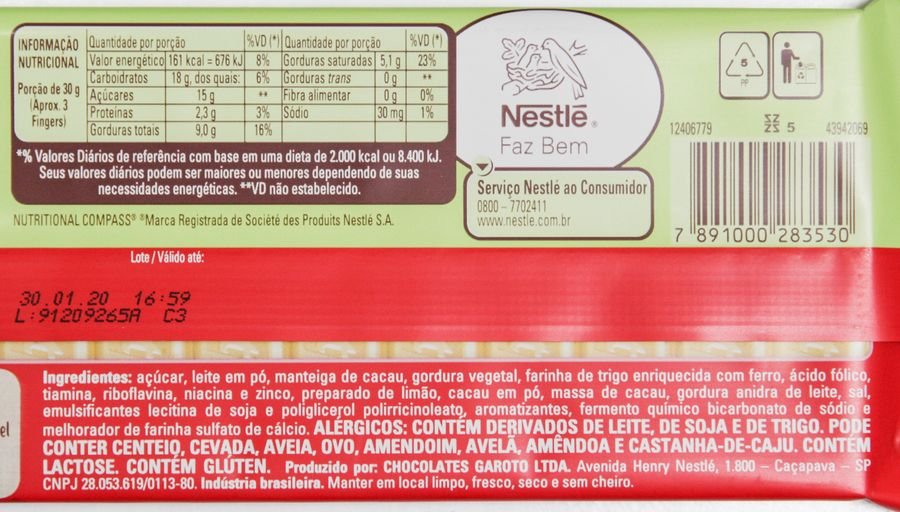 Lista de ingredientes e tabela nutricional do Kit Kat Limão